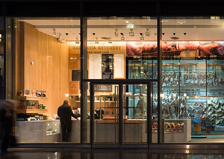 Jamie Oliver's  Barbecoa Butchery. 20 New Change Passage, City of London. Lighting Consultant: Speirs + Major; Photographer: James Newton
